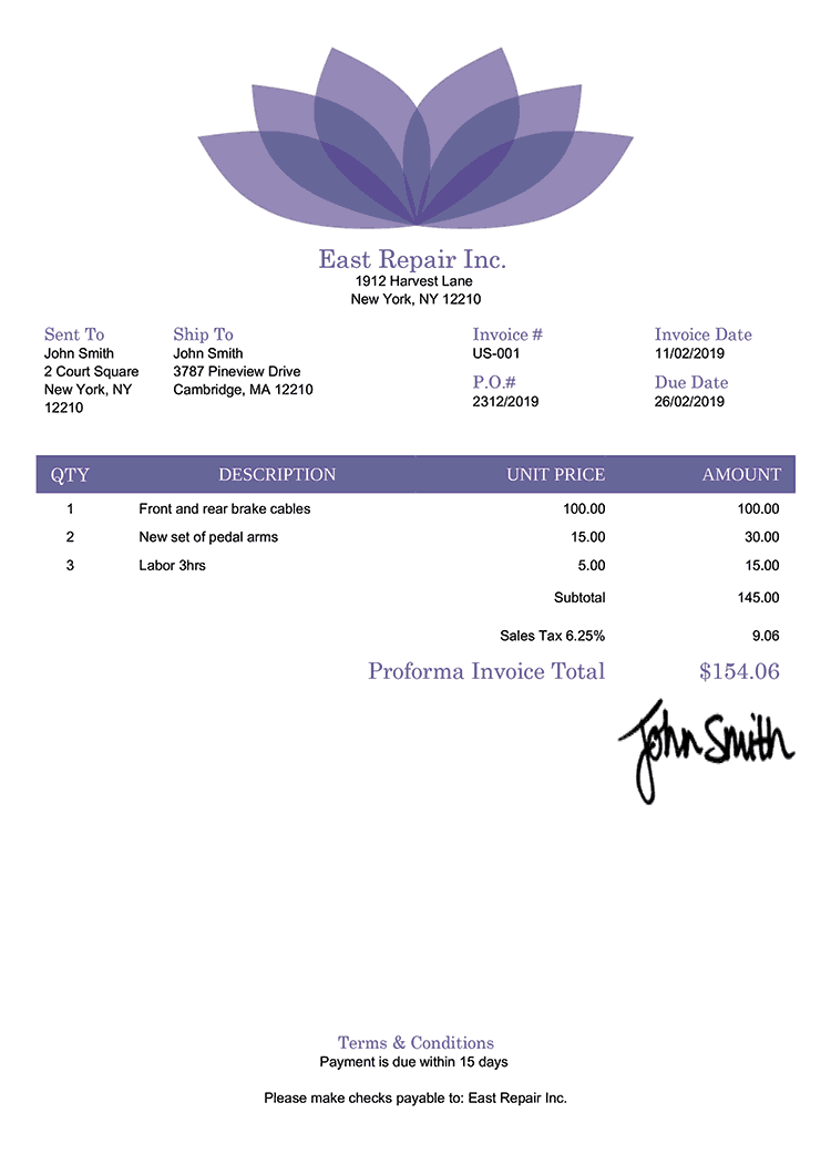 Proforma Invoice Template Us Lotus Purple