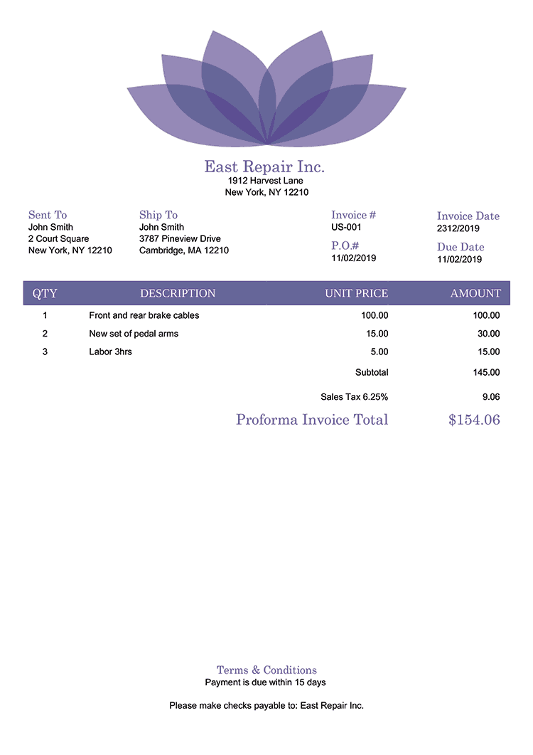 Proforma Invoice Template Us Lotus Purple No Logo