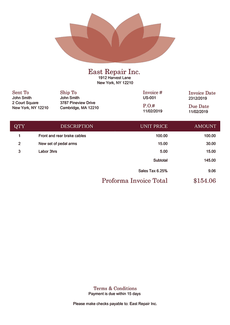 Proforma Invoice Template Us Lotus Red No Logo