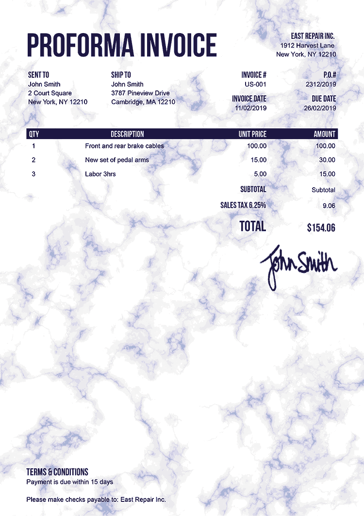 Proforma Invoice Template Us Marble Blue