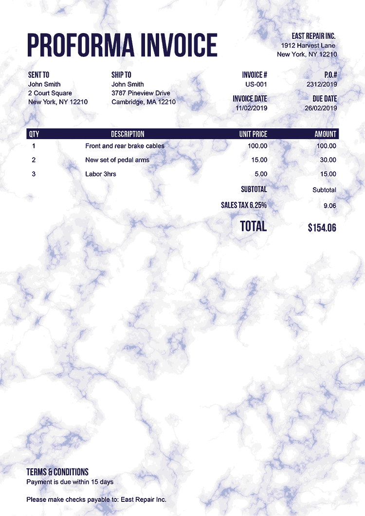Proforma Invoice Template Us Marble Blue No Logo