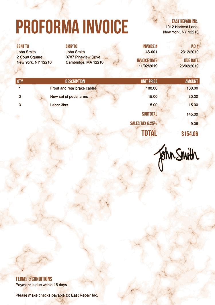 Proforma Invoice Template Us Marble Orange