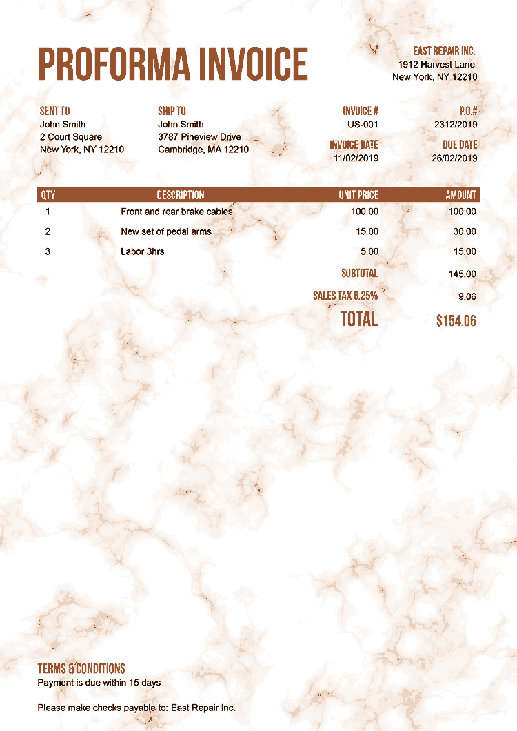 Proforma Invoice Template Us Marble Orange No Logo