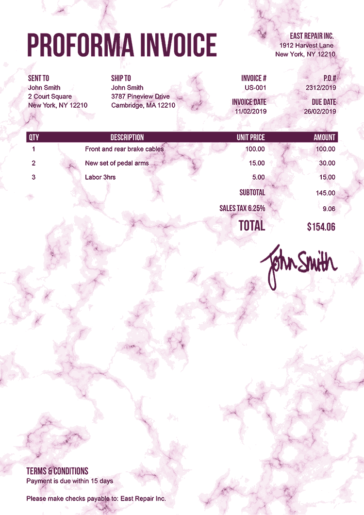 Proforma Invoice Template Us Marble Pink