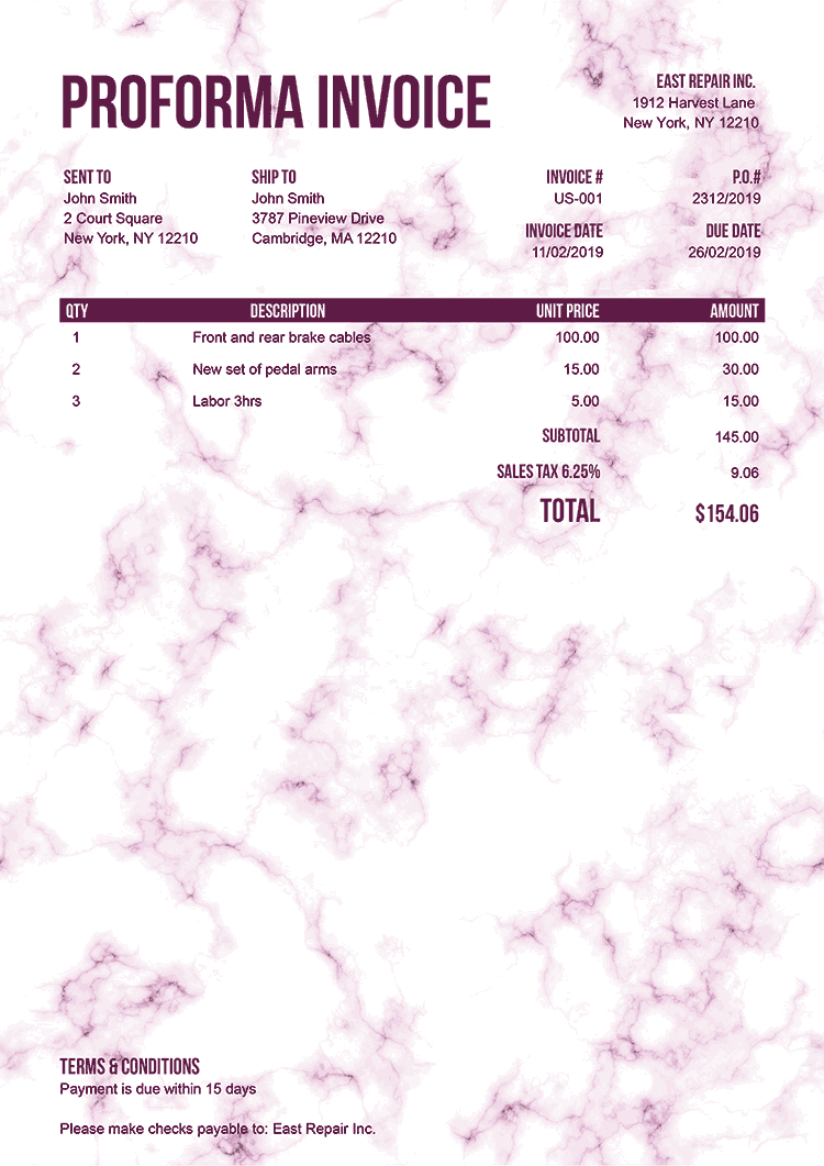 Proforma Invoice Template Us Marble Pink No Logo