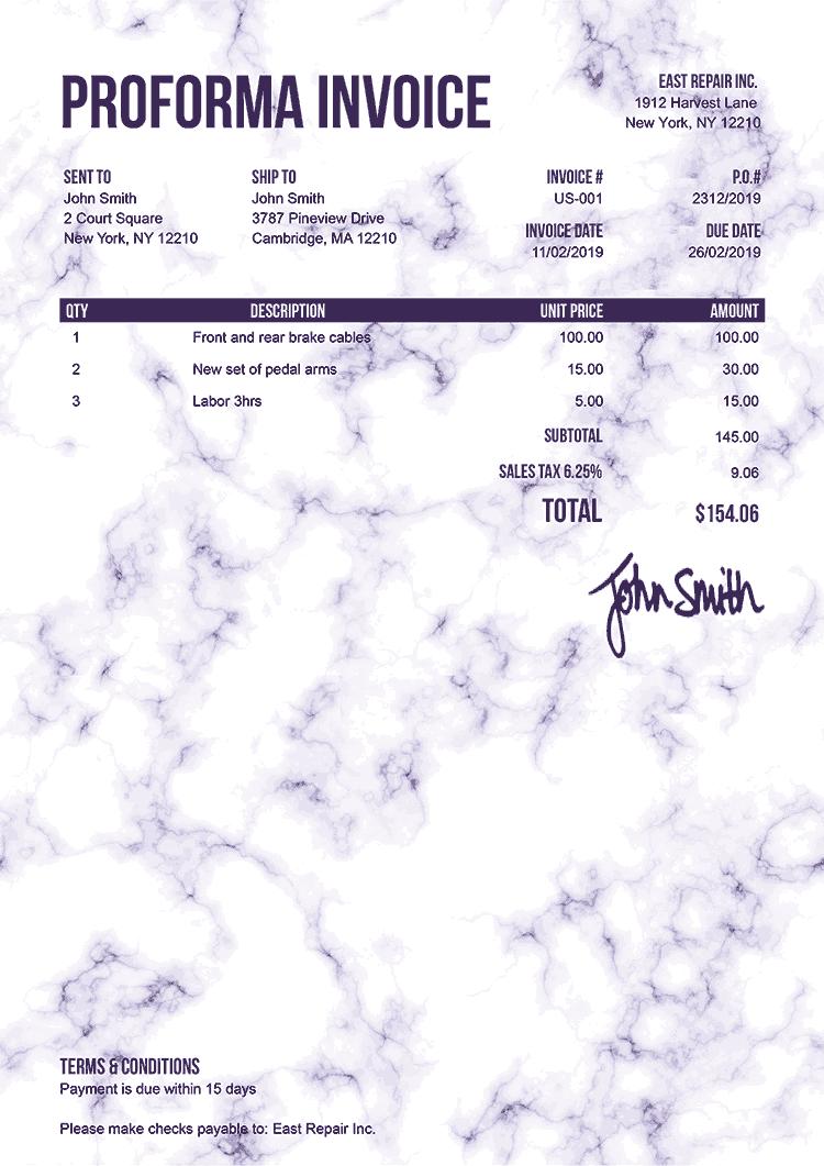 Proforma Invoice Template Us Marble Purple
