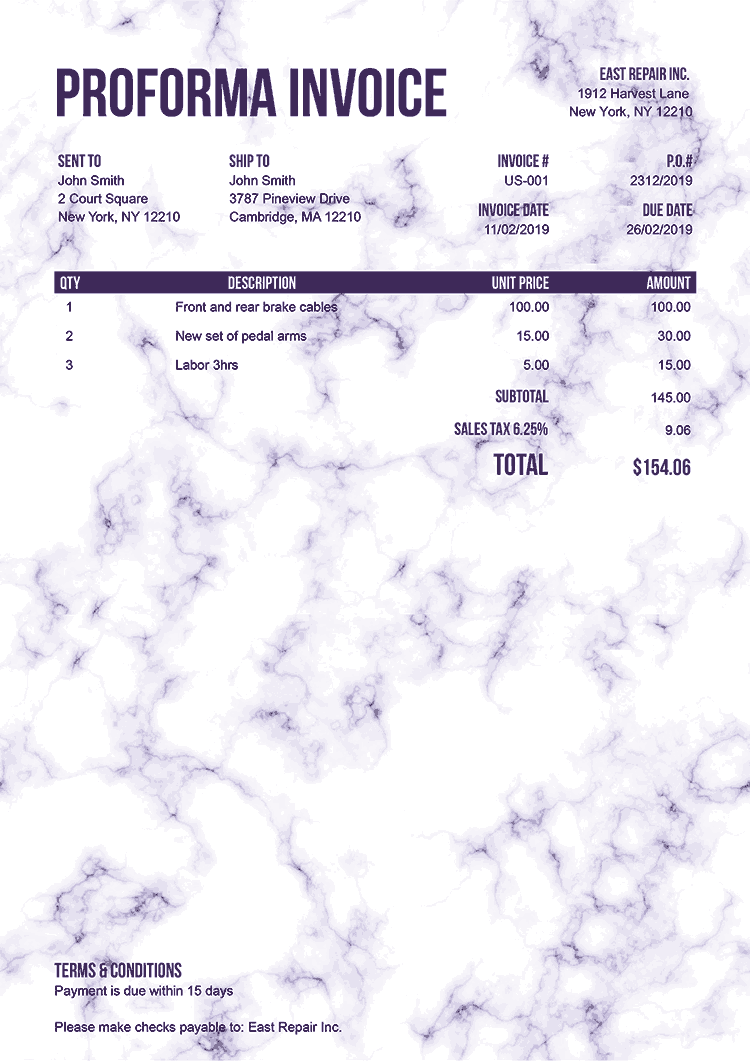 Proforma Invoice Template Us Marble Purple No Logo