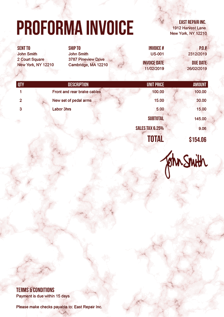 Proforma Invoice Template Us Marble Red
