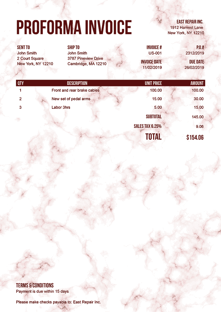 Proforma Invoice Template Us Marble Red No Logo