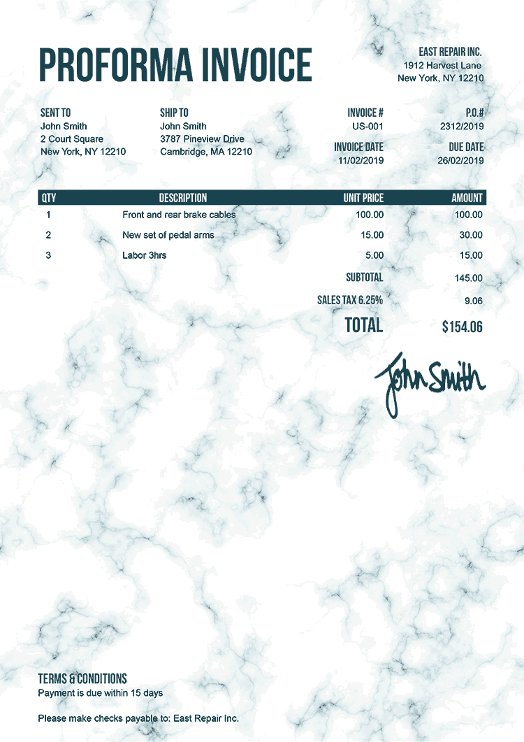 Proforma Invoice Template Us Marble Teal
