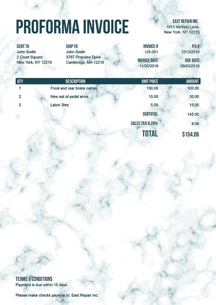 Proforma Invoice Template Us Marble Teal No Logo