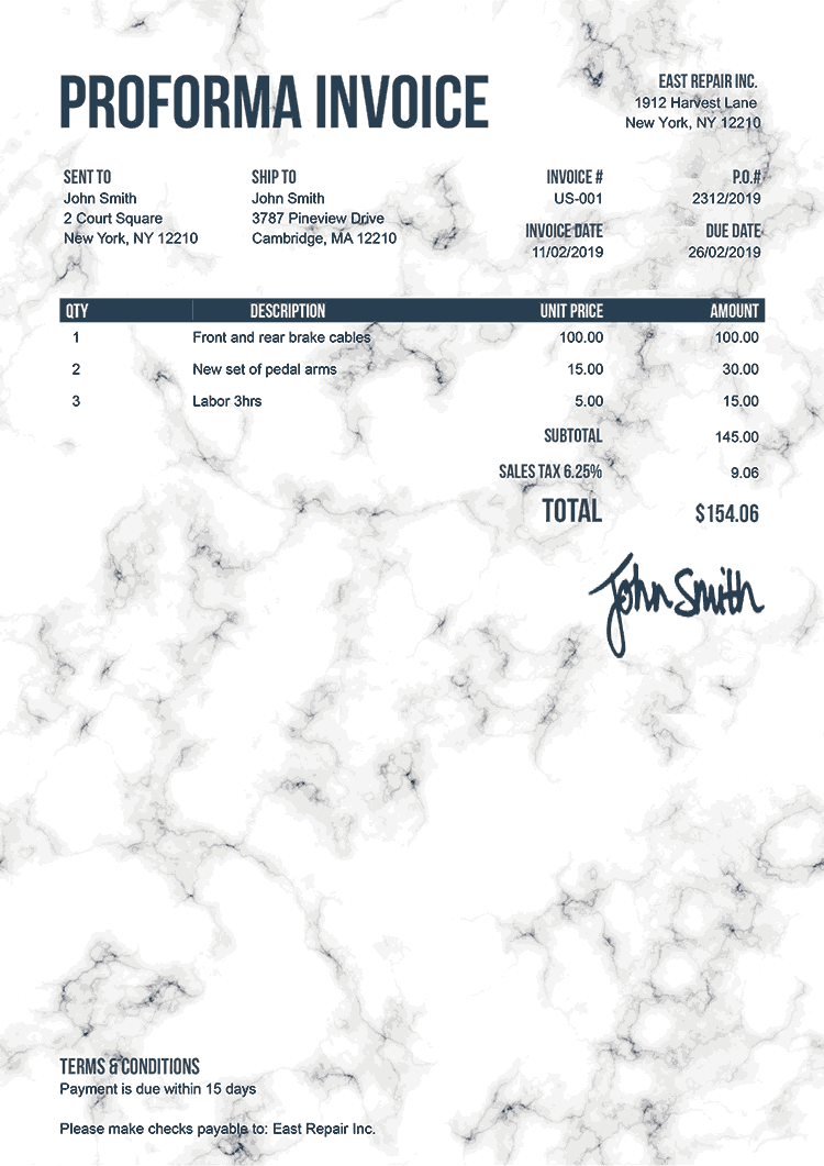 Proforma Invoice Template Us Marble White