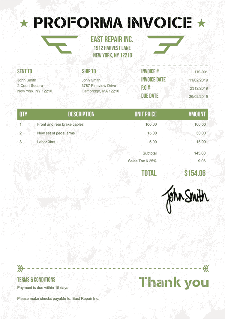 Proforma Invoice Template Us Military Green