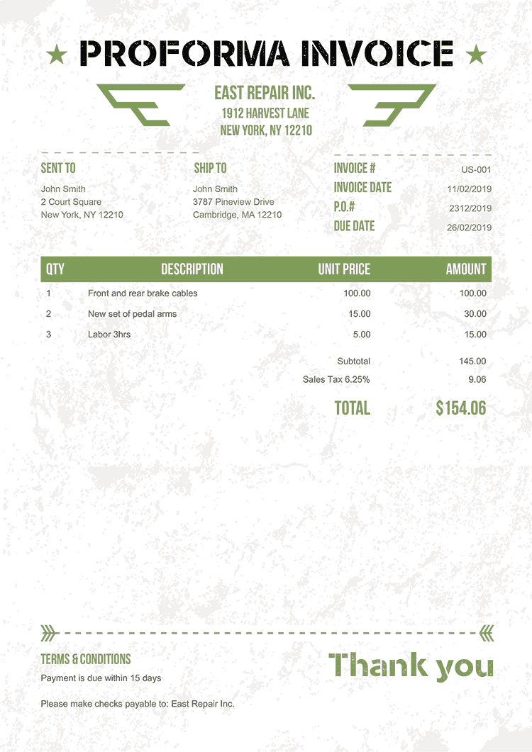 Proforma Invoice Template Us Military Green No Logo
