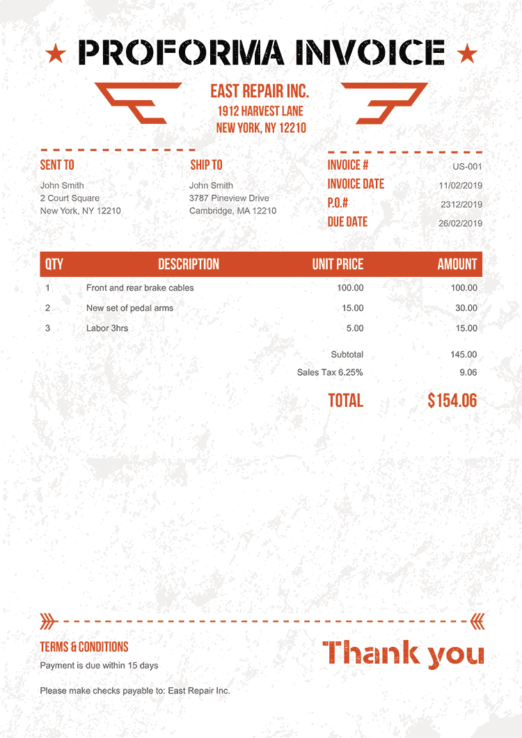 Proforma Invoice Template Us Military Orange No Logo