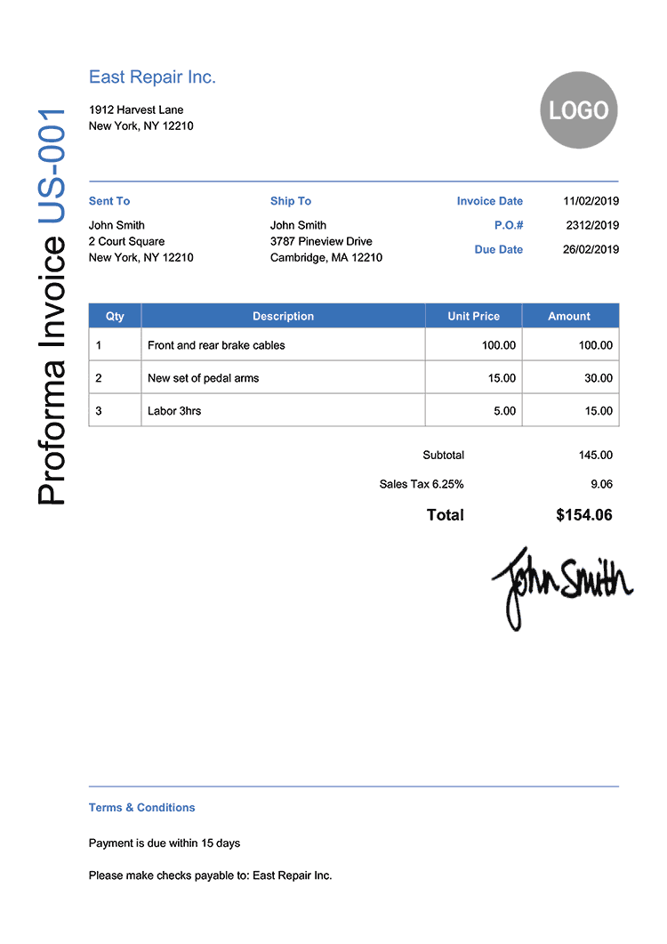 Proforma Invoice Template Us Modern Blue