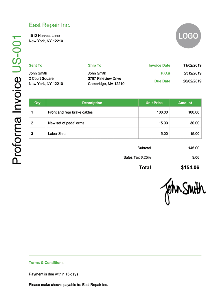 Proforma Invoice Template Us Modern Green