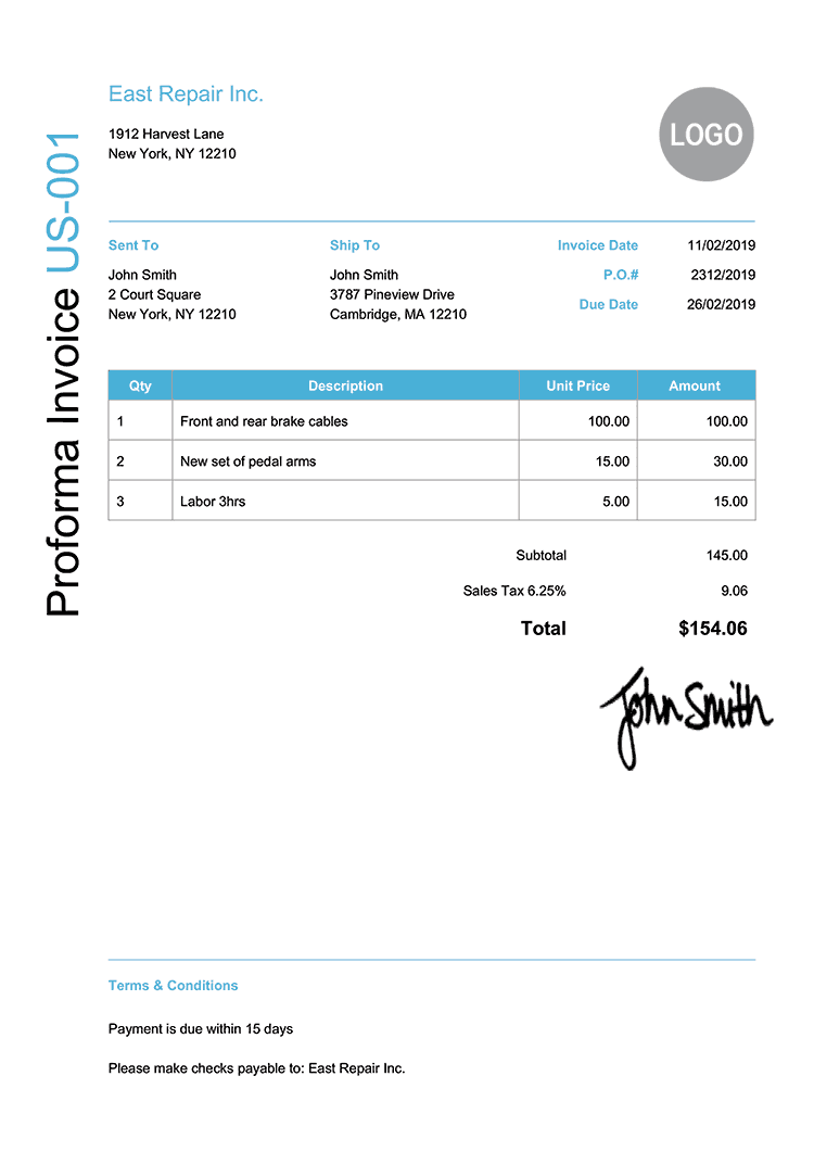 Proforma Invoice Template Us Modern Light Blue