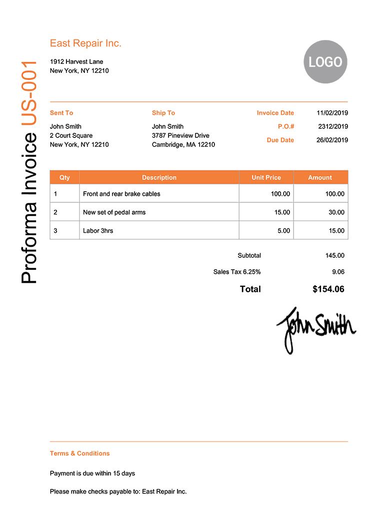 Proforma Invoice Template Us Modern Orange