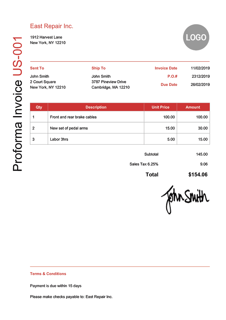 Proforma Invoice Template Us Modern Red