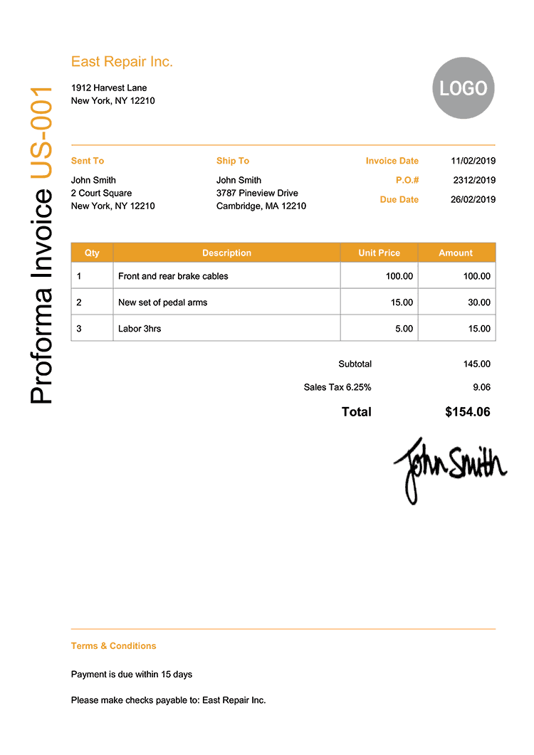 Proforma Invoice Template Us Modern Yellow