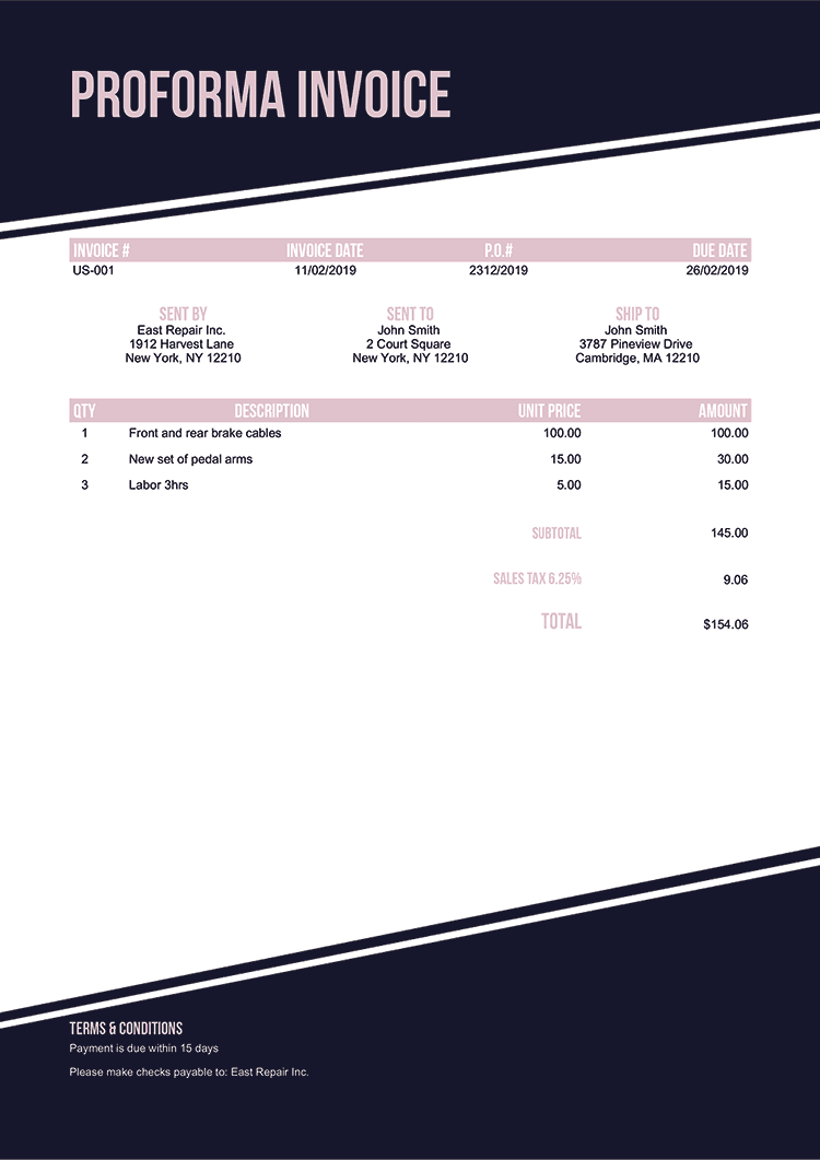 Proforma Invoice Template Us Modest Black No Logo