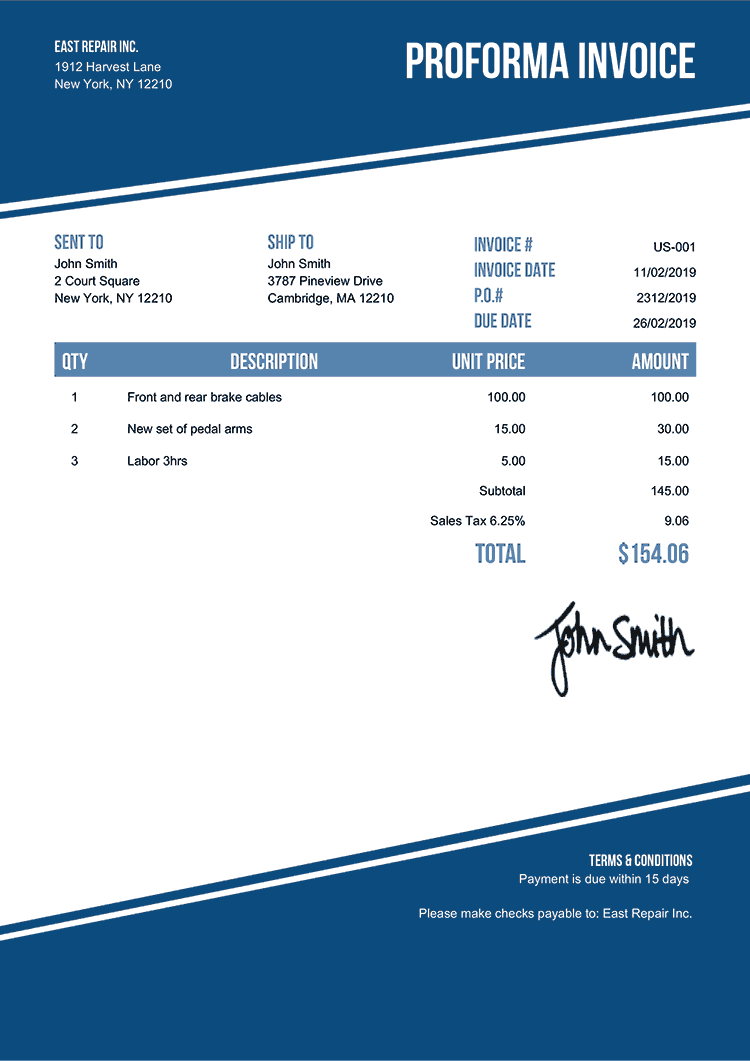 Proforma Invoice Template Us Modest Blue