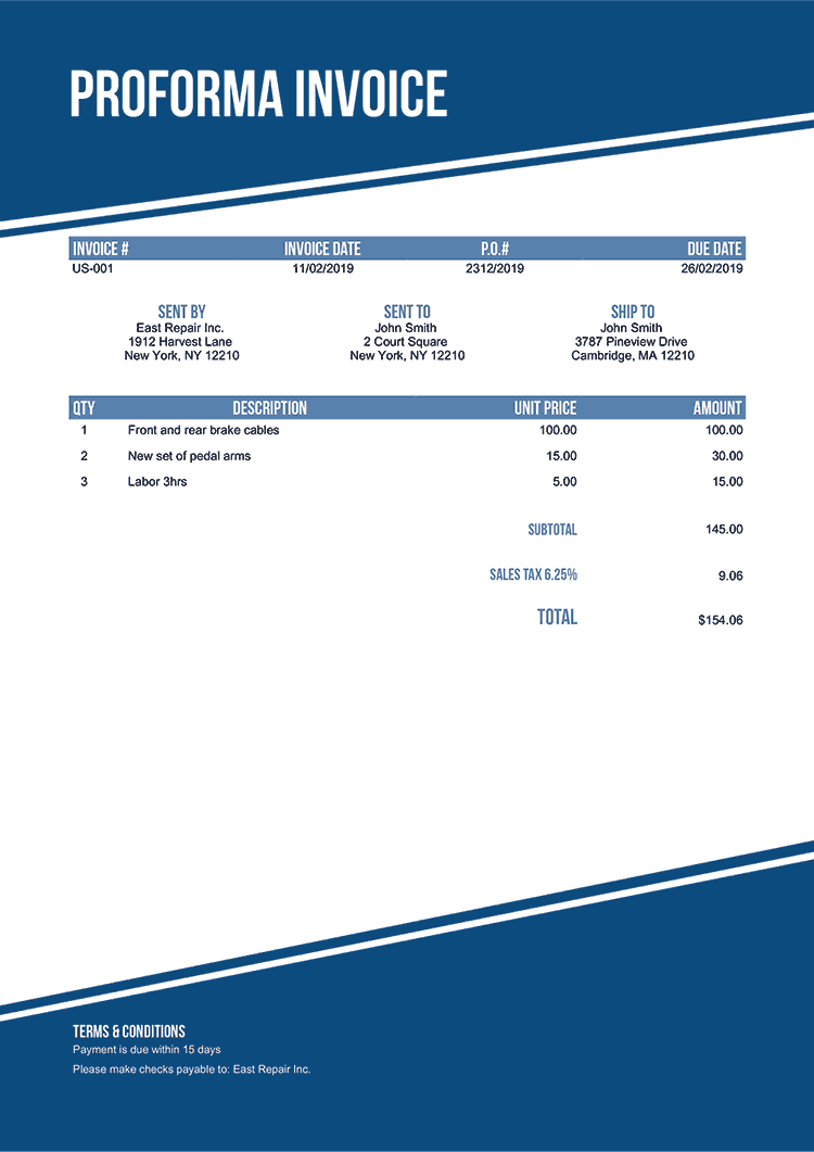 Proforma Invoice Template Us Modest Blue No Logo