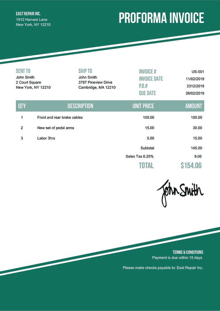 Proforma Invoice Template Us Modest Green