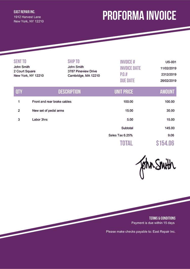 Proforma Invoice Template Us Modest Purple