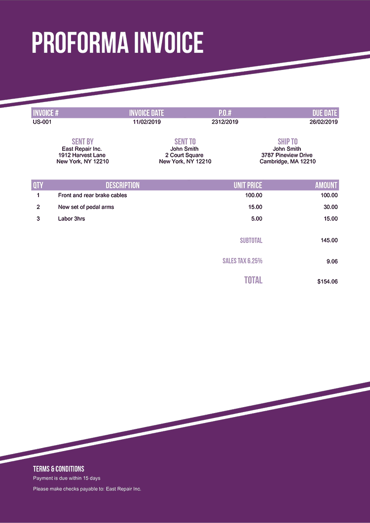 Proforma Invoice Template Us Modest Purple No Logo