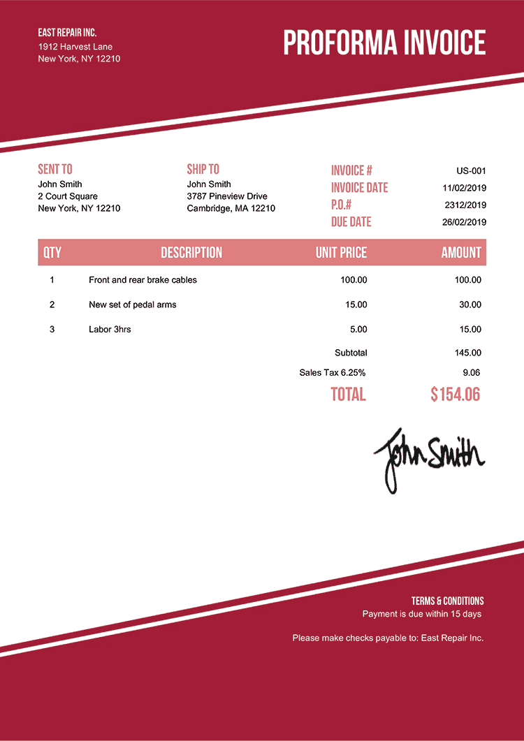 Proforma Invoice Template Us Modest Red