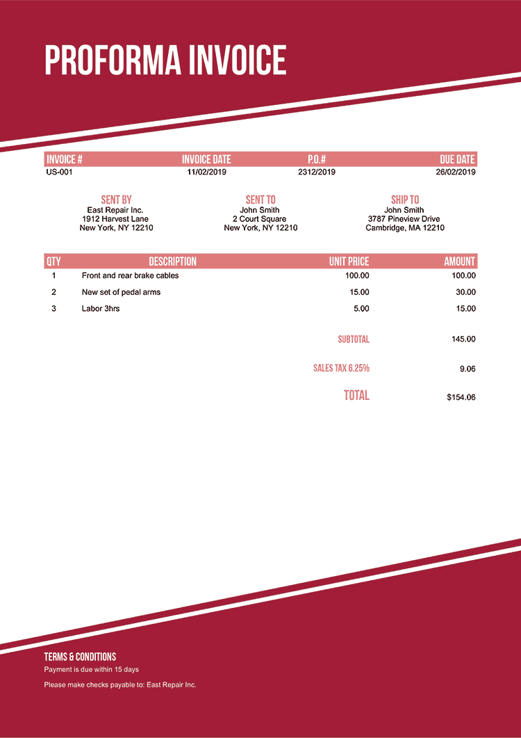 Proforma Invoice Template Us Modest Red No Logo