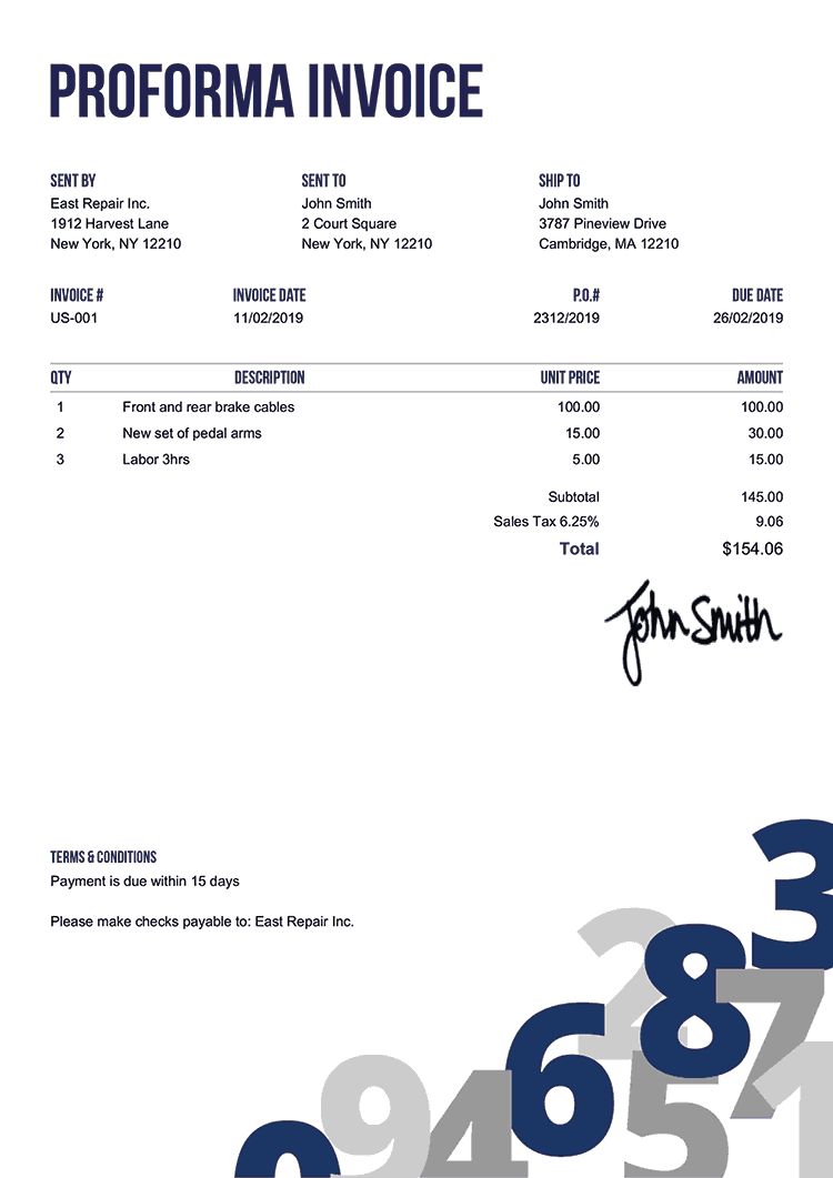 Proforma Invoice Template Us Numbers Blue