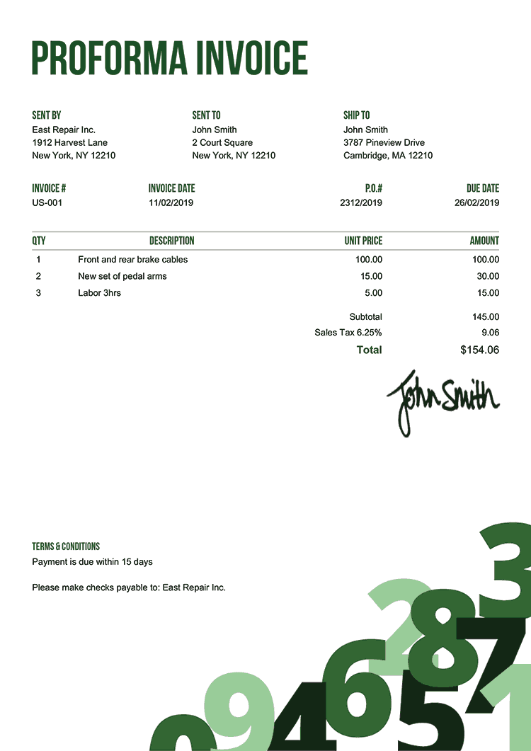 Proforma Invoice Template Us Numbers Green