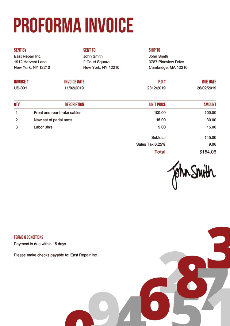 Proforma Invoice Template Us Numbers Red