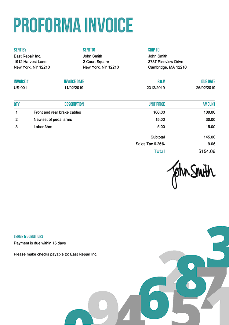 Proforma Invoice Template Us Numbers Teal