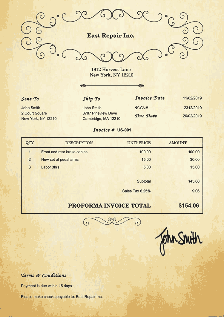 Proforma Invoice Template Us Oldie