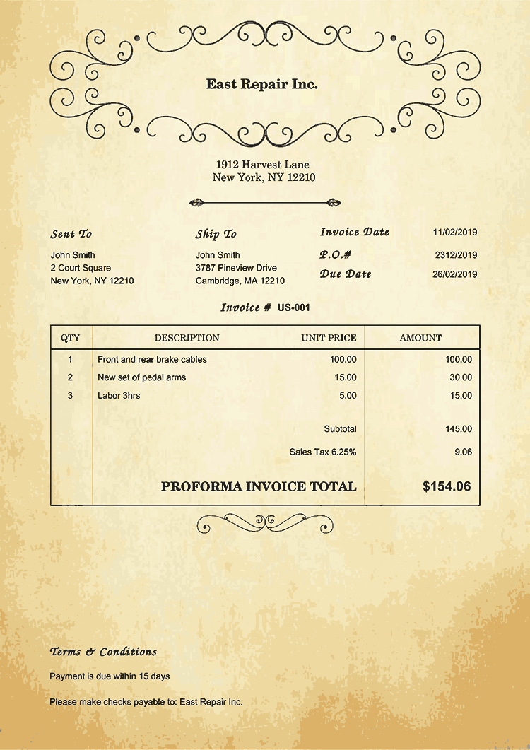 Proforma Invoice Template Us Oldie No Logo