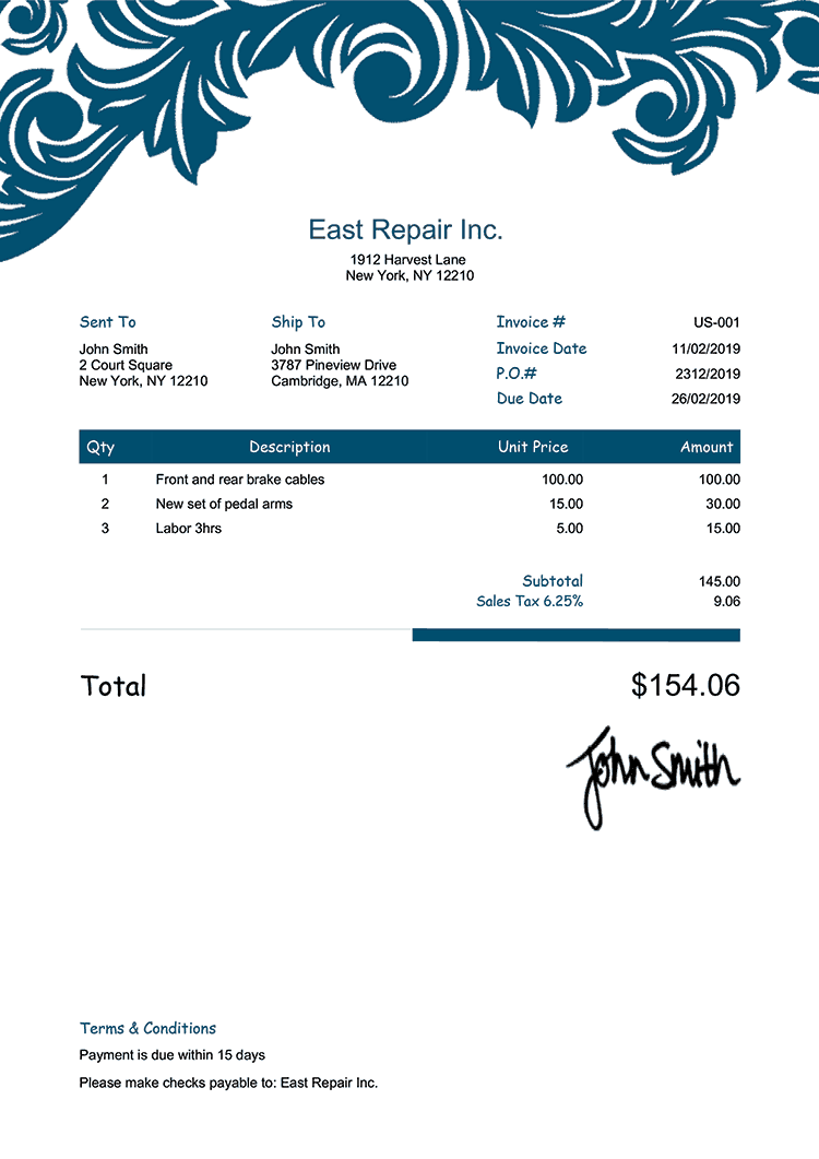 Proforma Invoice Template Us Ornate Blue