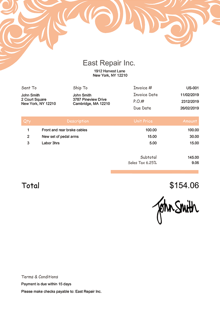 Proforma Invoice Template Us Ornate Peach