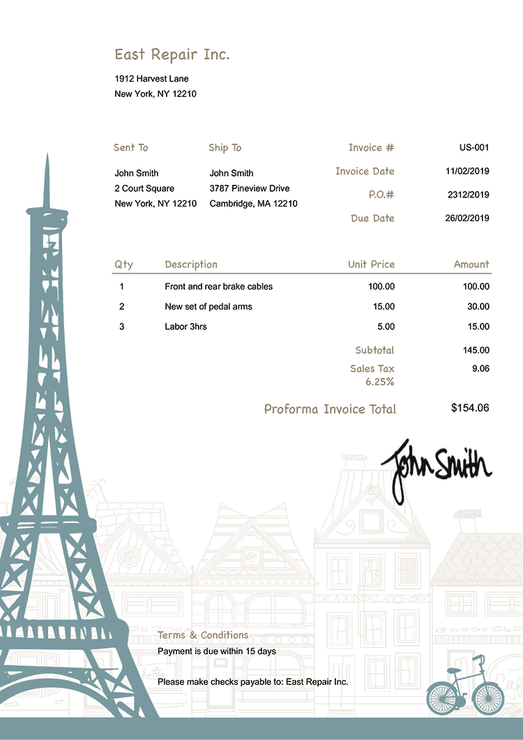 Proforma Invoice Template Us Paris