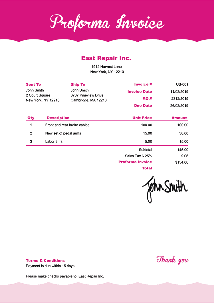 Proforma Invoice Template Us Pink Frosting