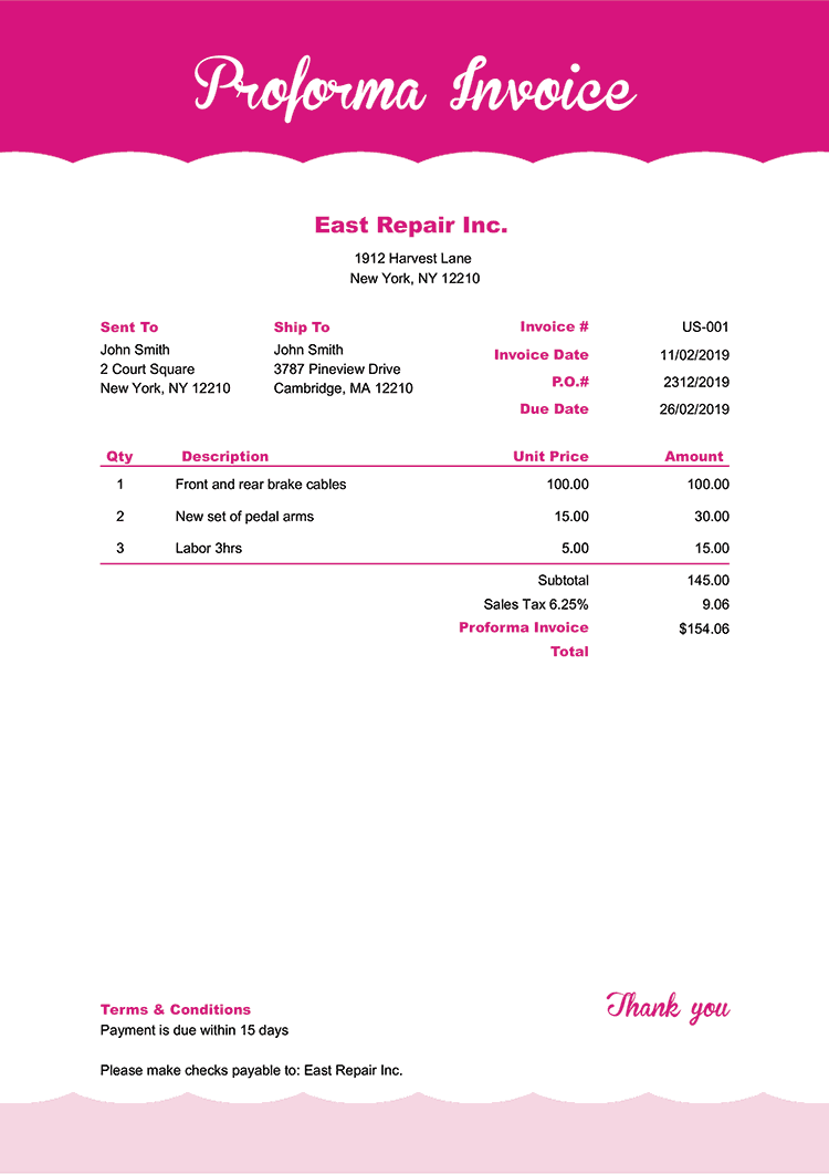 Proforma Invoice Template Us Pink Frosting No Logo