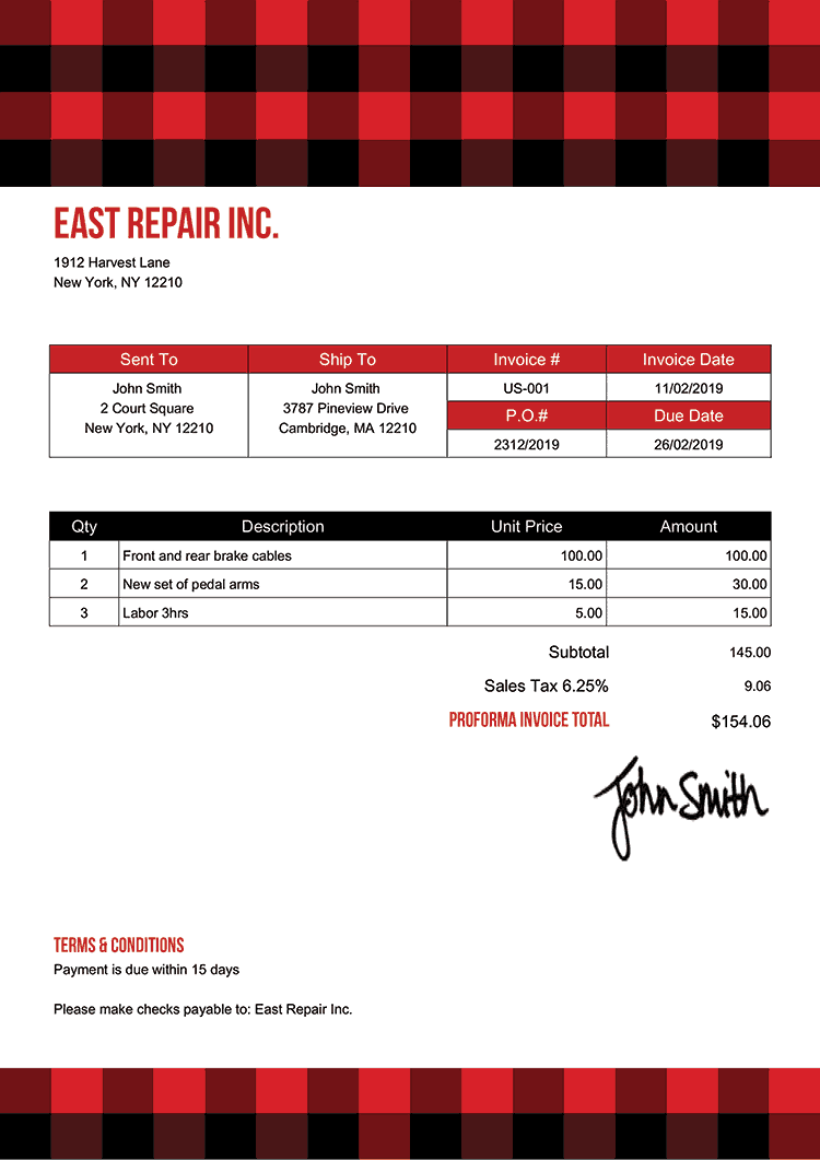 Proforma Invoice Template Us Plaid Red
