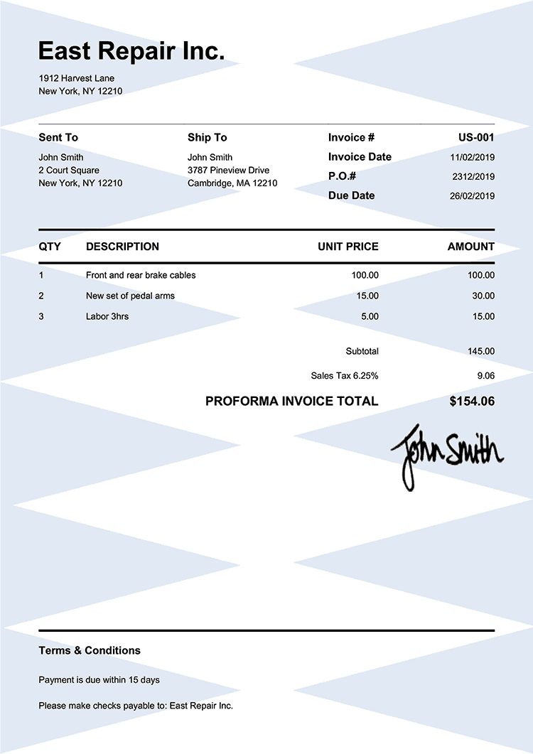 Proforma Invoice Template Us Pure Blue