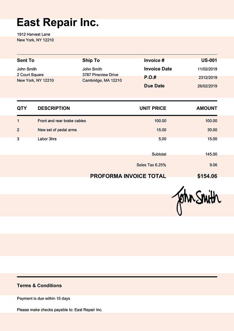 Proforma Invoice Template Us Pure Orange