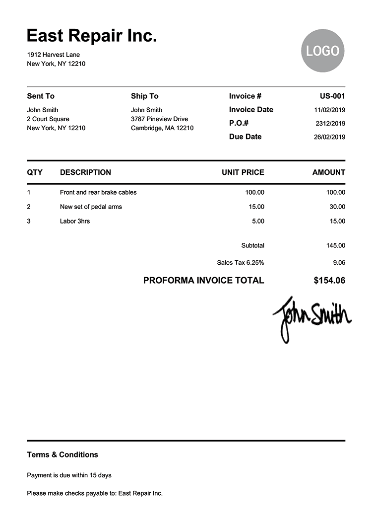 Proforma Invoice Template Us Pure White