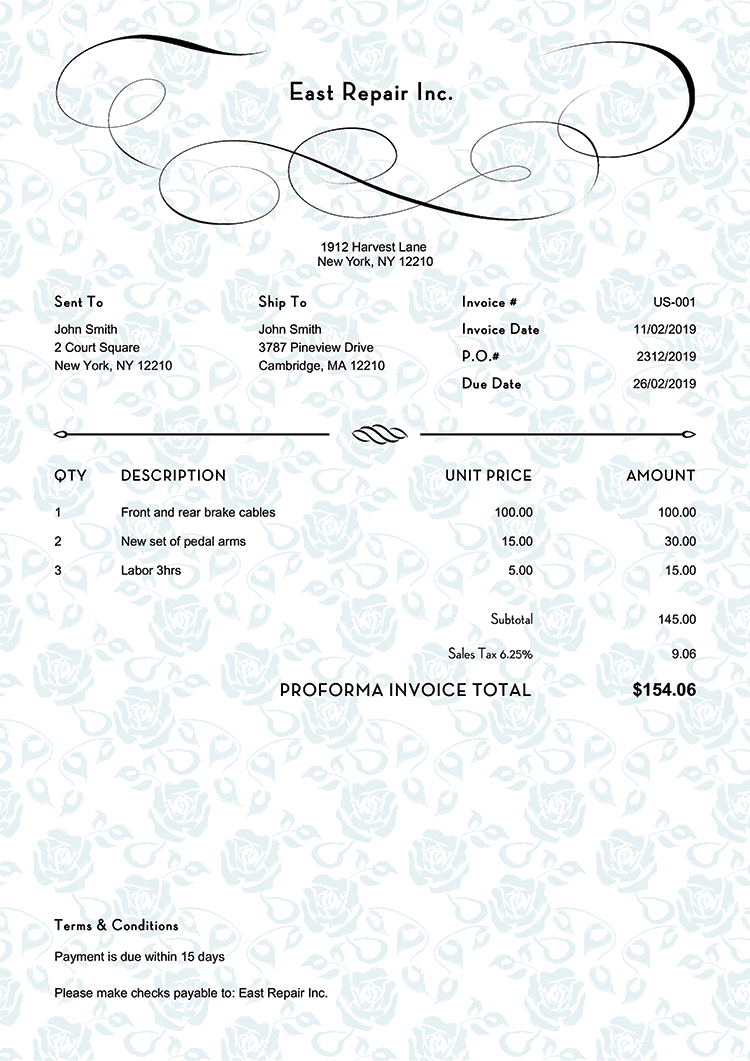 Proforma Invoice Template Us Rose Blue No Logo