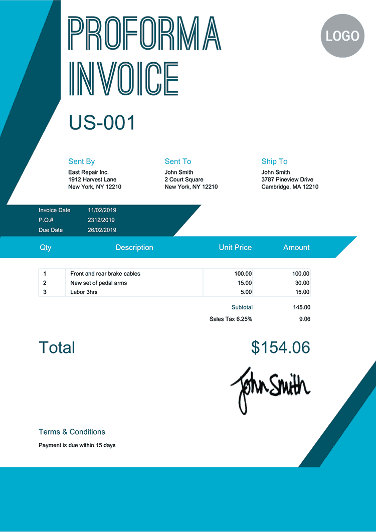 Proforma Invoice Template Us Sharp